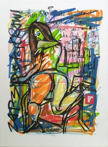 Zapedski socially engaged original art under 250 on cotton canvas created with Paint Markers