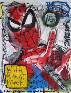 Zapedski painting - socially involved original art under 250 on canvas created with mixed media